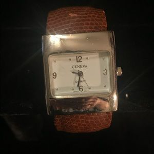 Geneva brown leather bangle watch